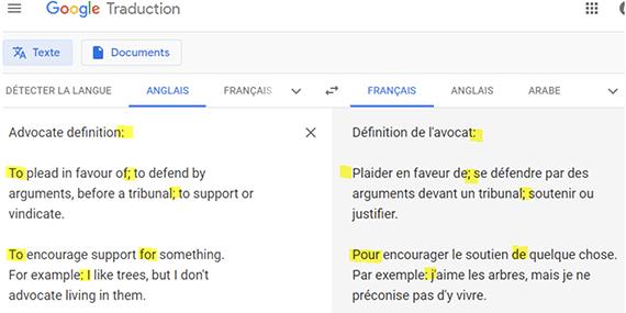Traduction en ligne anglais - français sur Google Translate