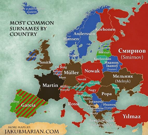 Quels sont les noms de famille les plus courants dans les pays d'Europe ?